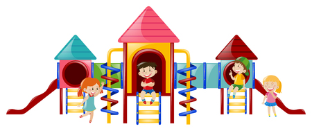 playstation: Four kids at playstation illustration