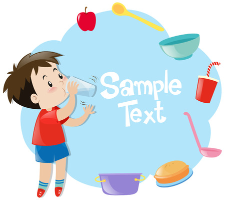 Paper design with boy drinking in background illustration