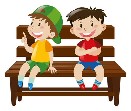 Two boys sitting on wooden chair illustration