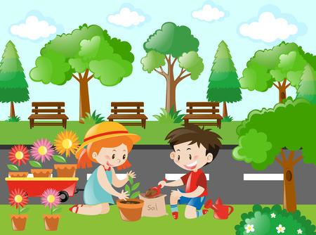 planting tree: Scene with kids planting tree illustration