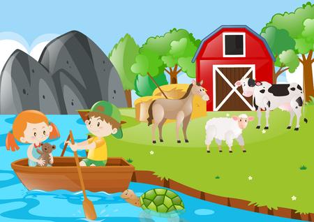 Children rowing boat in the farmyard illustration