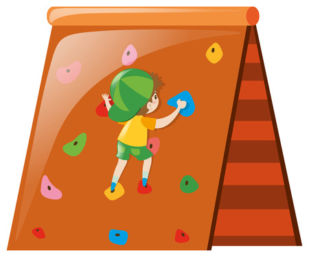 Kleiner Junge, der auf Wandabbildung klettert