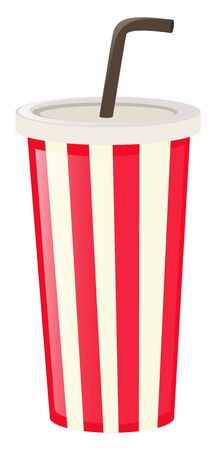 plastic cup: Plastic cup with black straw illustration