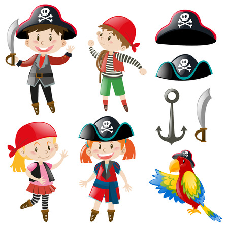 Kids in pirate costume and parrot pet illustration Иллюстрация