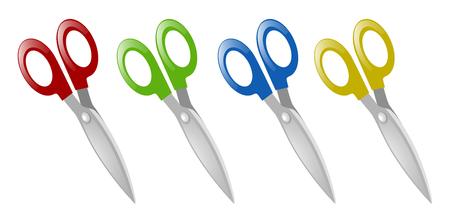 Pairs of scissors in four colors illustration