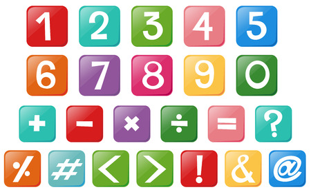 numbers clipart: Font design for numbers and signs illustration Illustration