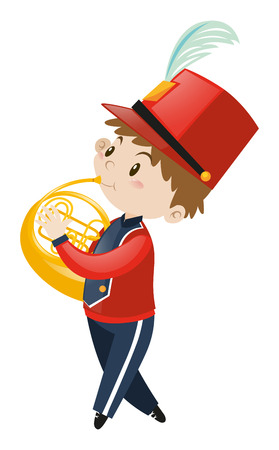 french horn: Boy in school band playing french horn illustration Illustration