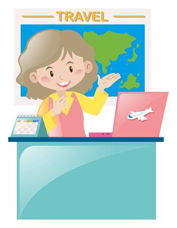 Travel agency working at desk illustration