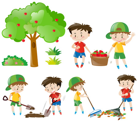 Set of boys doing farm work illustration Illustration