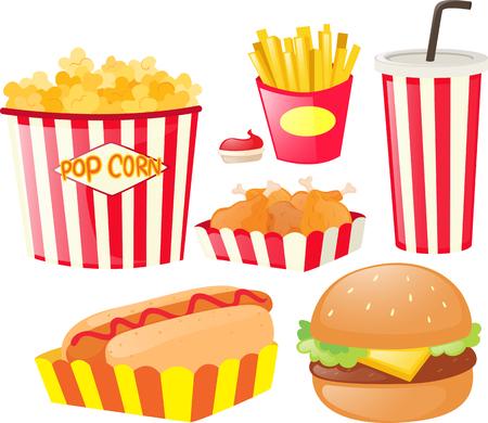 fastfood: Different kinds of fastfood illustration