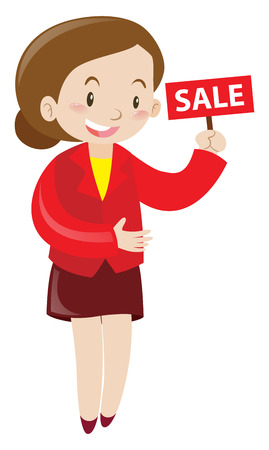shopkeeper: Shopkeeper holding sale sign illustration Illustration
