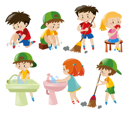 Boys and girls doing different activities illustration  イラスト・ベクター素材