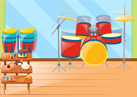 Different musical instruements in room illustration Illustration