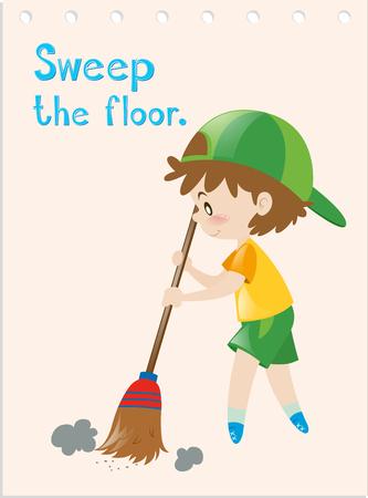 verb: Flashcard of boy sweeping floor illustration Illustration