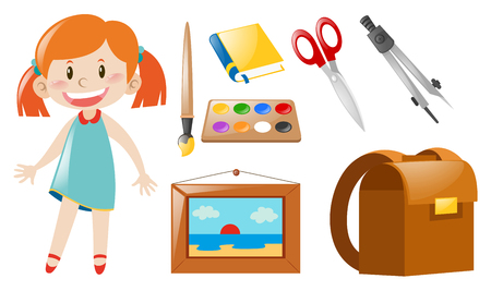 Girl and school objects illustration Illustration