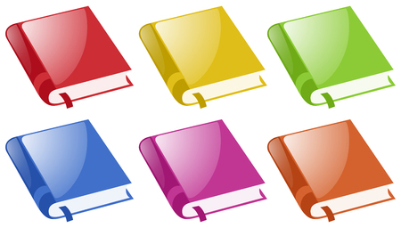 Books in six different colors illustration