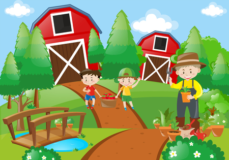 Farmer and children working in the farm illustration
