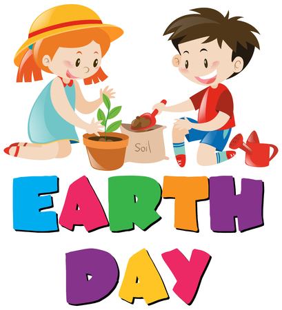 planting tree: Earth day theme with kids planting tree illustration