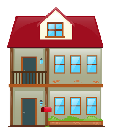Two stories house with red roof illustration