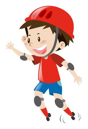 casco rojo: Little boy with red helmet rollerskating illustration