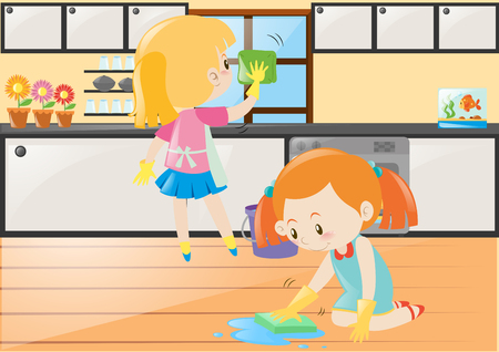 kitchen cleaning: Two girls cleaning kitchen and floor illustration Illustration