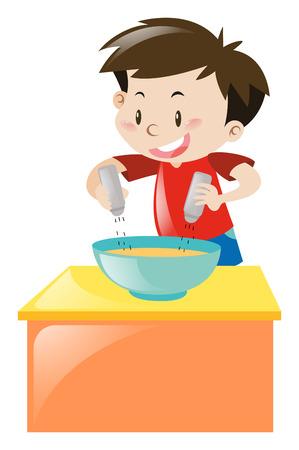 Boy putting salt and pepper in soup illustration