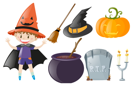 Halloween theme with boy and witch costume illustration