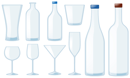 champagne cups: Different types of glasses and bottles illustration Illustration