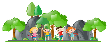 hulahoop: Children doing hulahoop in the park illustration