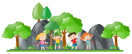 hulahoop: Children doing hulahoop in the park illustration