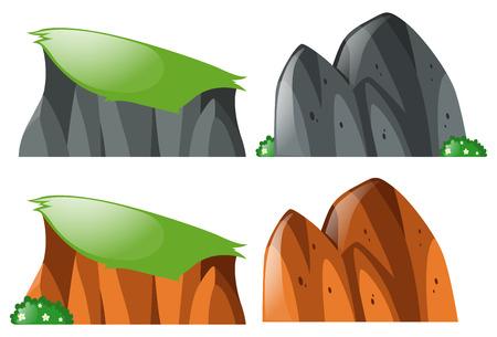 granite: Cliff and rocks on white background illustration