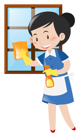 Happy maid cleaning window illustration