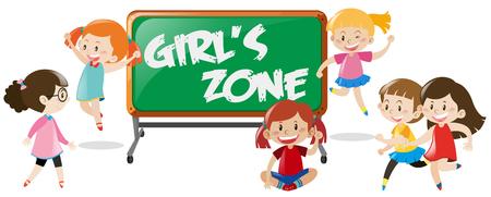 sign  childhood: Many happy girls and blackboard illustration