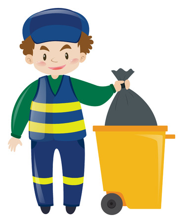 janitor: Janitor throwing away garbage illustration