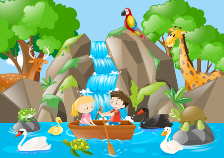 rowboat: Kids rowing boat in the river full of animals illustration
