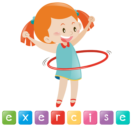 hulahoop: Girl exercise with hulahoop illustration