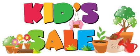 flower pots: Kids sale sign with lots of flower pots illustration