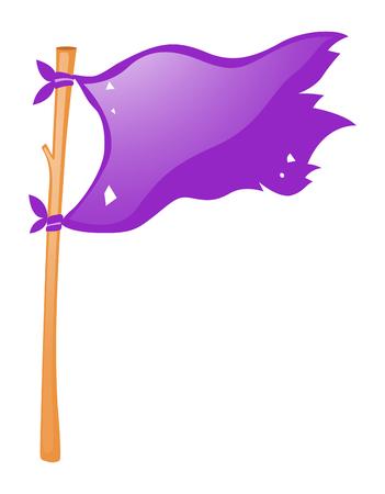 wooden stick: Purple flag on wooden stick illustration