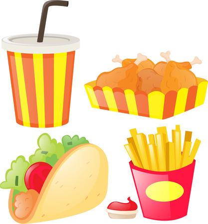 Different kind of junk food and soft drink illustration Illustration