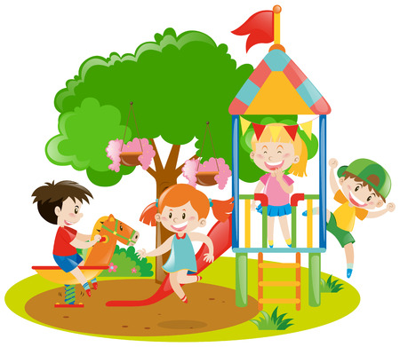 adolescent: Children playing in the backyard illustration Illustration