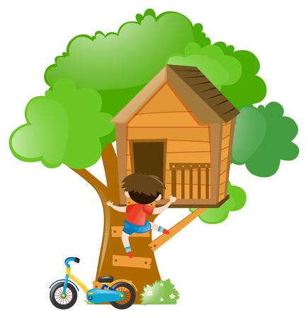 Boy climbing up the treehouse illustration