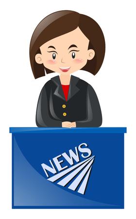 news reporter: Female news reporter reporting news illustration