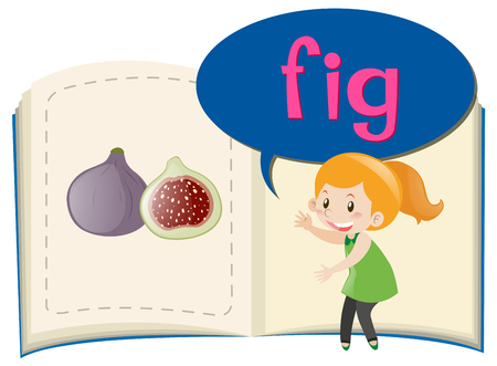 fig: Girl and fig in the book illustration