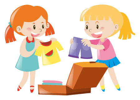 packing suitcase: Two girls packing suitcase illustration