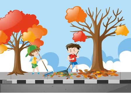 raking: Two boys raking dried leaves on pavement illustration