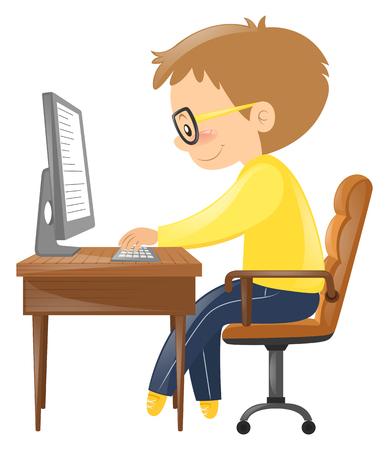 typing on keyboard: Man typing on keyboard illustration Illustration