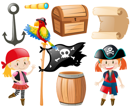 role play: Pirate set with pirate and other item illustration Illustration