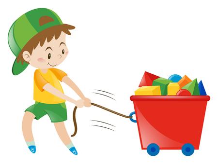 pulling: Boy pulling cart fullo of blocks illustration