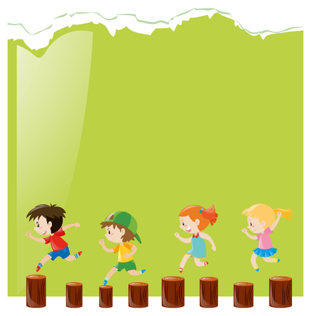 logs: Background template with kids on logs illustration
