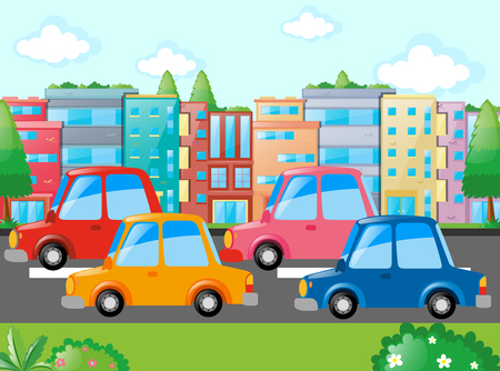 Scene with many cars on road illustration